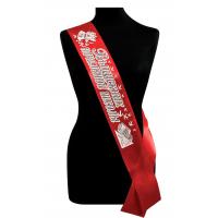 Ленты для выпускников начальной школы - Лента Выпускник начальной школы красные, атлас 3D (с серебряным глиттером)